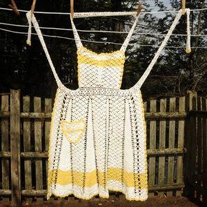 Vintage 60's Crochet Full Bib Apron, Gold & White